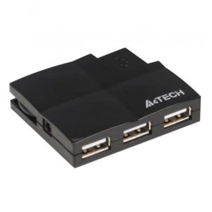A4TECH HUB-57 4 Port 2.0 USB Card Reader Built-in Cable Managment (Black)